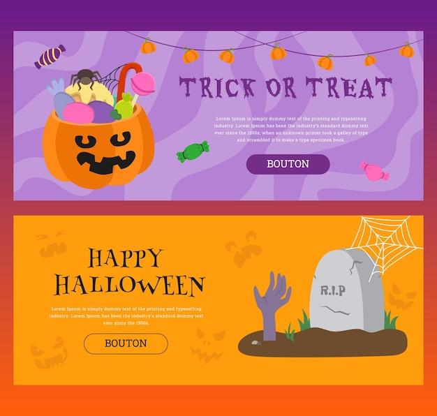 Conjunto de banners horizontales con temática vectorial para la fiesta de halloween