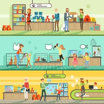 Conjunto de banners horizontales de tienda de mascotas, personas que compran mascotas, peces de acuario, comida para animales, jaula, accesorios para el cuidado coloridas ilustraciones detalladas