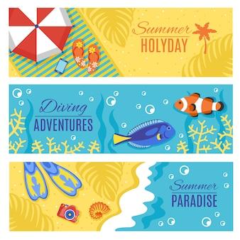 Conjunto de banners horizontales de vacaciones de vacaciones de verano