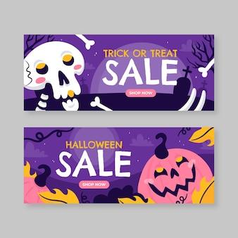 Conjunto de banners horizontales de venta de halloween dibujados a mano