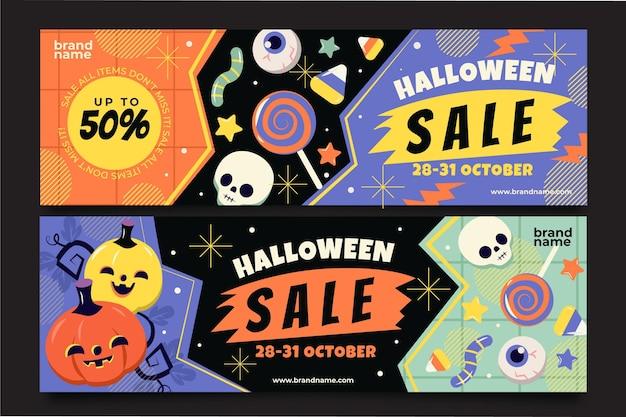 Conjunto de banners horizontales de venta de halloween plano dibujado a mano
