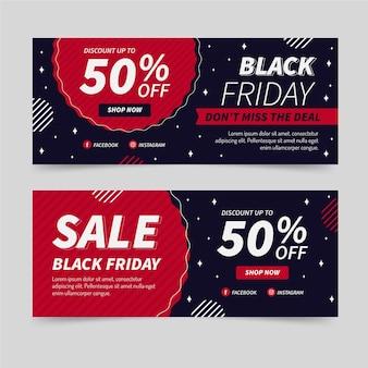 Conjunto de banners horizontales de venta de viernes negro plano