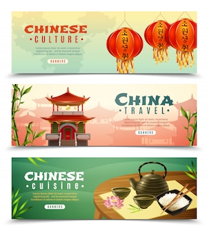 Conjunto de banners horizontales de viaje de china