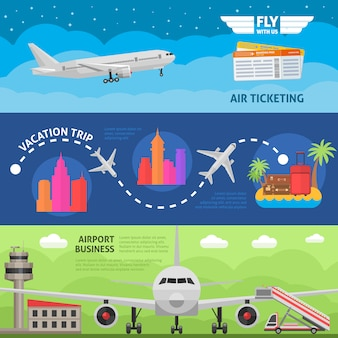 Conjunto de banners horizontales de viajes aéreos