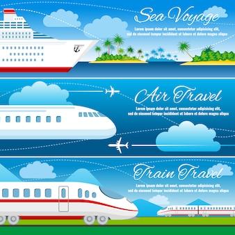 Conjunto de banners horizontales de viajes de verano