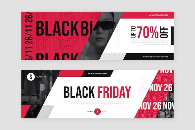 Conjunto de banners horizontales de viernes negro plano