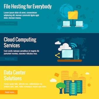Conjunto de banners de hosting de archivos.