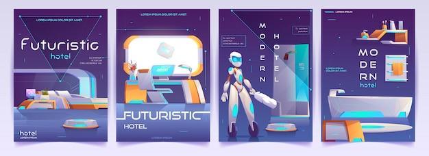 Conjunto de banners de hotel futurista, carteles de apartamentos