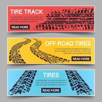 Conjunto de banners de huellas de neumáticos. b