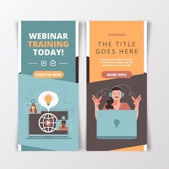 Conjunto de banners ilustrados de seminarios web.
