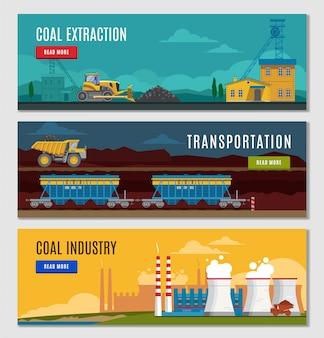 Conjunto de banners de la industria del carbón