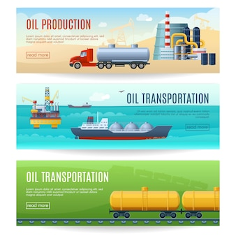 Conjunto de banners de la industria petrolera