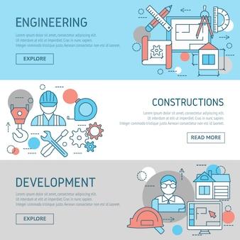 Conjunto de banners de ingeniería y construcciones