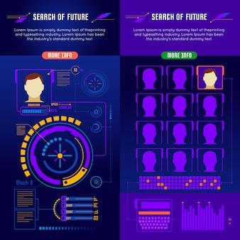 Conjunto de banners de interfaz de futuro abstracto