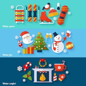 Conjunto de banners de invierno