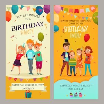 Conjunto de banners de invitación de fiesta de niños