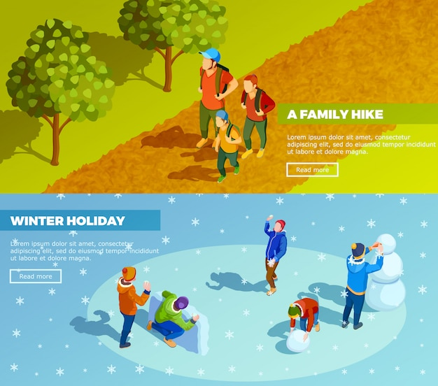 Conjunto de banners isométricos de actividades al aire libre en familia