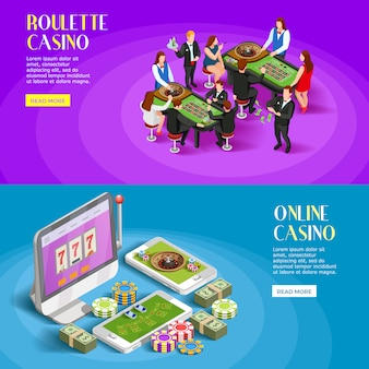 Conjunto de banners isométricos de casino