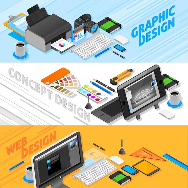 Conjunto de banners isométricos de diseño gráfico