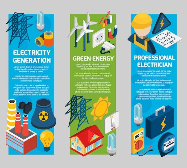 Conjunto de banners isométricos de electricidad