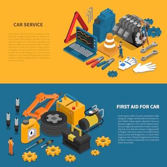 Conjunto de banners isométricos herramientas de servicio de coche