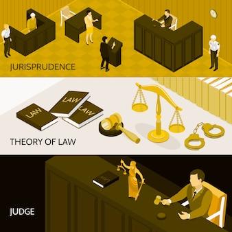 Conjunto de banners isométricos de ley
