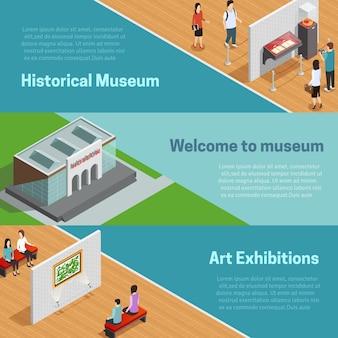 Conjunto de banners isométricos del museo