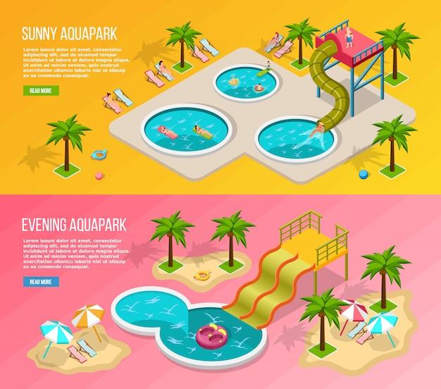 Conjunto de banners isométricos de parque acuático