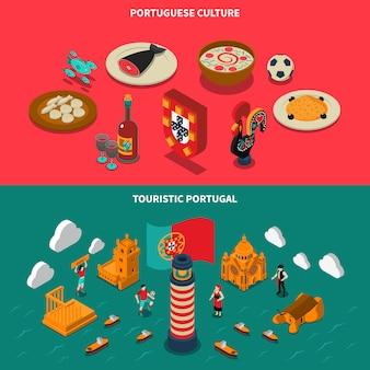 Conjunto de banners isométricos de portugal