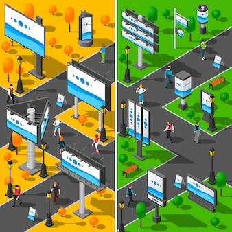 Conjunto de banners isométricos de publicidad callejera