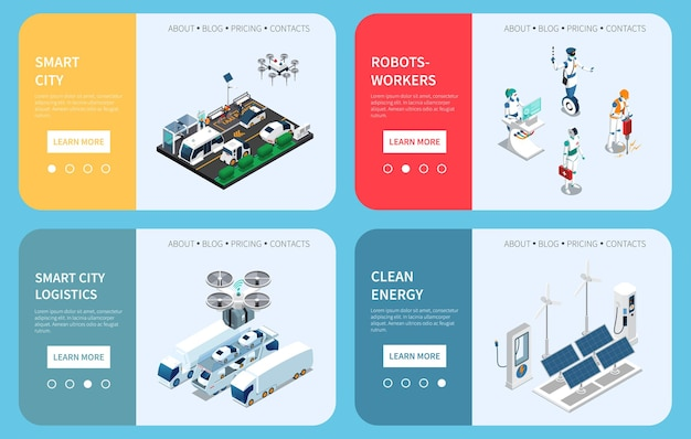 Conjunto de banners isométricos de tecnología de ciudad inteligente
