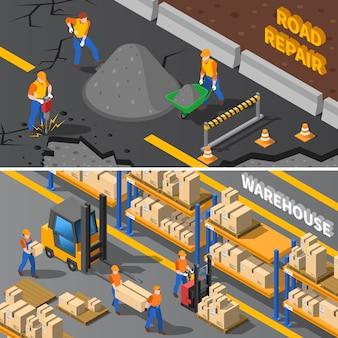 Conjunto de banners isométricos de trabajadores