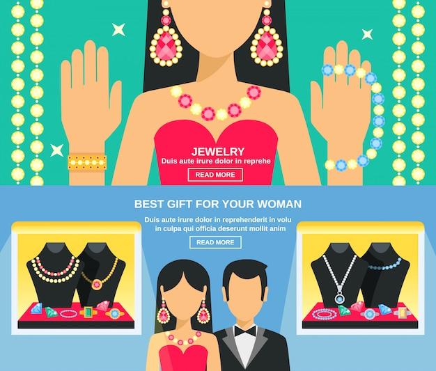 Conjunto de banners de joyería y regalos para mujeres