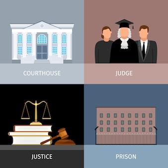 Conjunto de banners de justicia