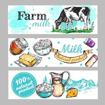 Conjunto de banners de leche de granja de vacas