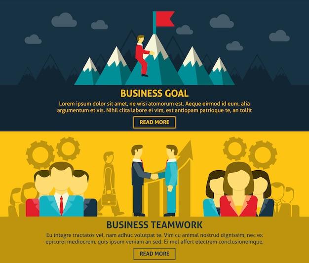 Conjunto de banners de liderazgo y negocios.