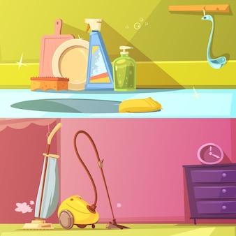 Conjunto de banners de limpieza horizontal de dibujos animados