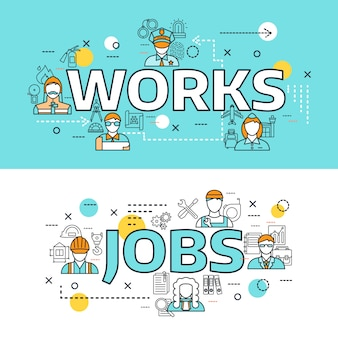 Conjunto de banners de línea de avatares de profesiones