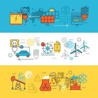 Conjunto de banners de línea de fuentes de energía