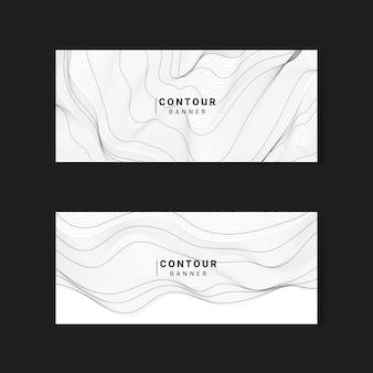 Conjunto de banners de líneas de contorno de mapa abstracto blanco y negro