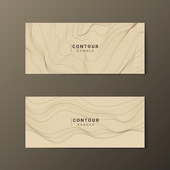 Conjunto de banners de líneas de contorno de mapa abstracto marrón