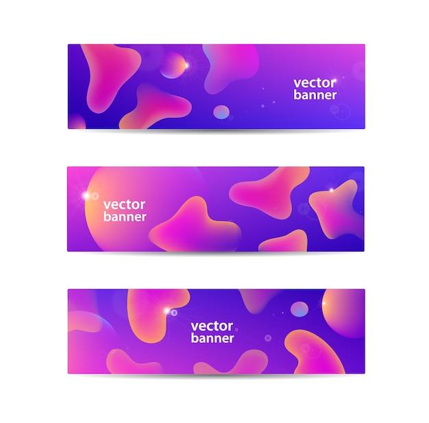 Conjunto de banners líquidos abstractos horizontales, encabezados web.