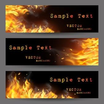 Conjunto de banners de llama de fuego