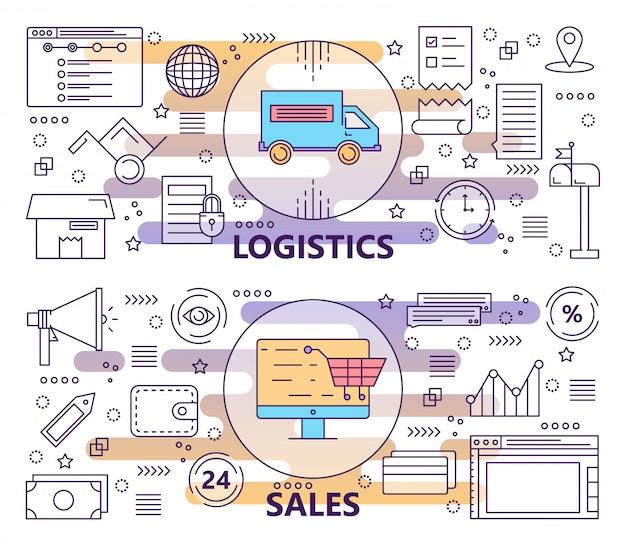Conjunto de banners de logística y ventas de línea delgada moderna