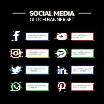 Conjunto de banners con logos de redes sociales con efecto glitch