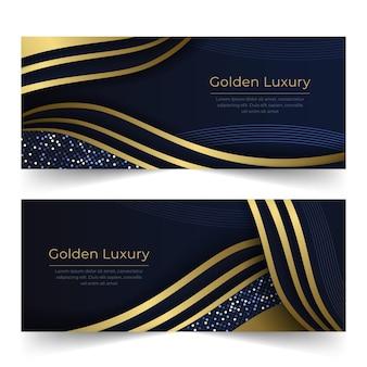 Conjunto de banners de lujo dorado degradado