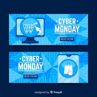 Conjunto de banners de lunes cibernético de diseño plano