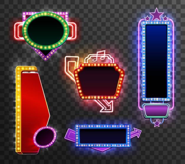 Conjunto de banners de luz retro