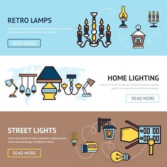 Conjunto de banners de luz