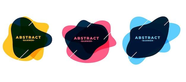 Conjunto de banners de marco abstracto de forma fluida